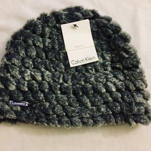 Calvin Klein | Grey Faux Fur Winter Hat